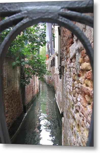 Venice Canal Through Gate Metal Print
