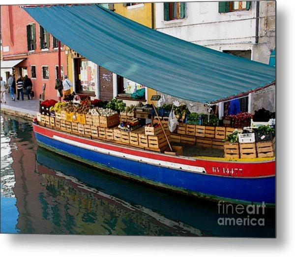 Venice Fresh Market Boat Metal Print by Italian Art