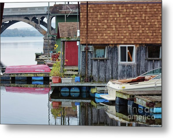 Metal Print featuring the photograph Venice On The Big Muddy Winona Mn Boathouses by Kari Yearous