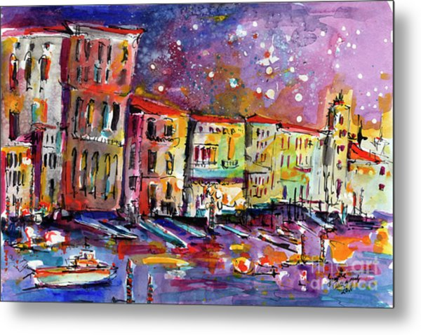 Venice Reflections Celebrating Italy Painting Metal Print