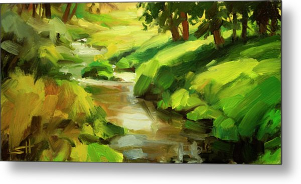 Metal Print featuring the painting Verdant Banks by Steve Henderson