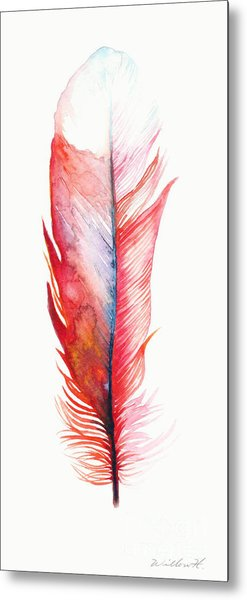 Vermilion Feather Metal Print