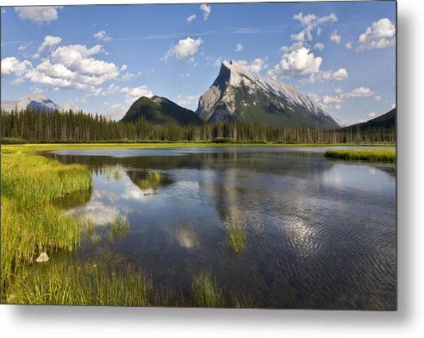Vermillion Lake And Sulpher Mountain Metal Print