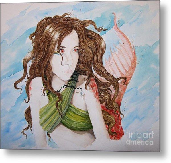 Vermillion Mermaid Metal Print by Theresa Higby