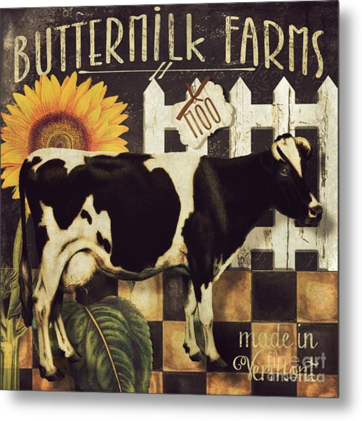 Vermont Farms Cow Metal Print
