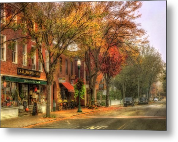 Vermont General Store In Autumn - Woodstock Vt Metal Print