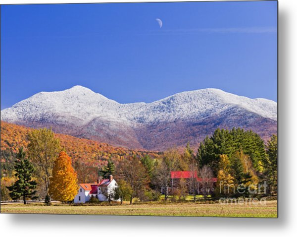 Vermont October Moonrise Metal Print
