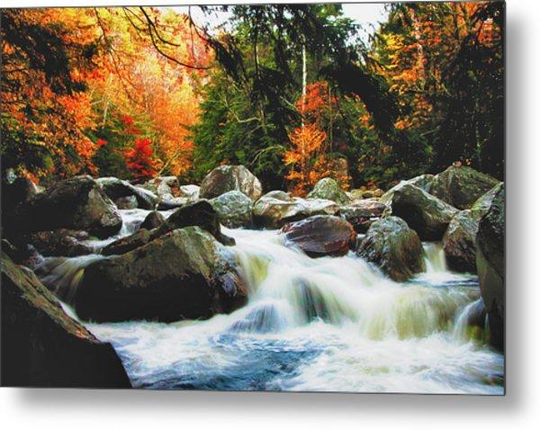 Vermonts Fall Color Rapids Metal Print