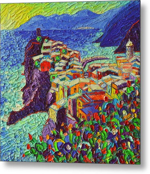 Vernazza Cinque Terre Italy 2 Modern Impressionist Palette Knife Oil Painting By Ana Maria Edulescu  Metal Print