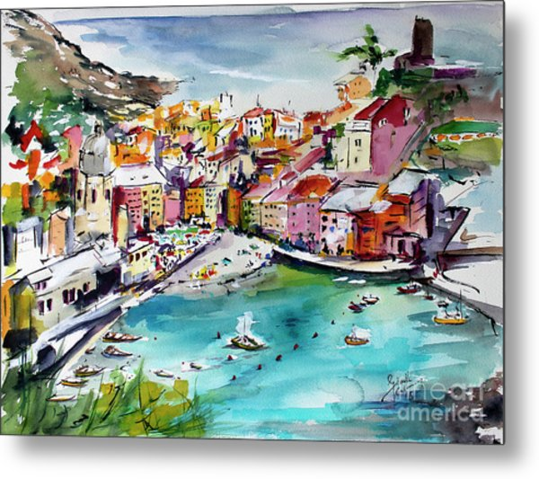 Metal Print featuring the painting Vernazza Italy Cinque Terre Watercolors by Ginette Callaway