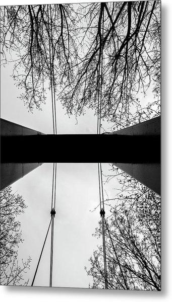 Vertical Bridge In Bw Metal Print by Nikos Stavrakas