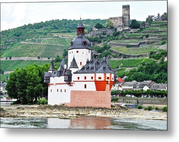 Vertical Vineyards And Buildings On The Rhine Metal Print