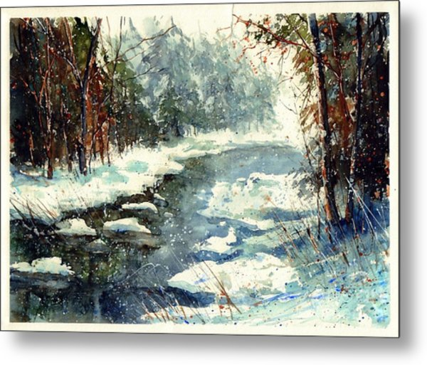 Very Cold Winter Watercolor Metal Print