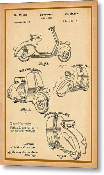 Vespa Patent Drawing Metal Print