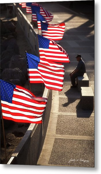 Veteran With Our Nations Flags Metal Print