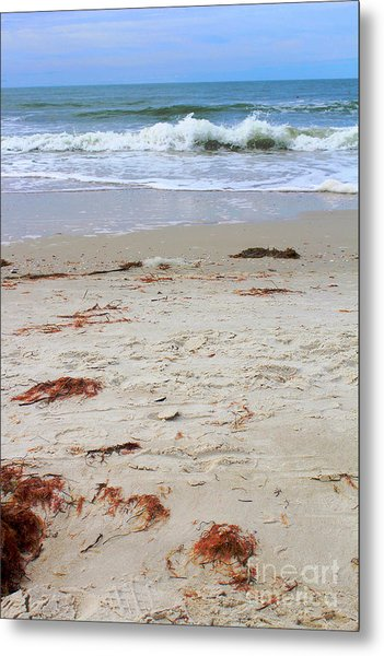 Vibrant Beach With Wave Metal Print