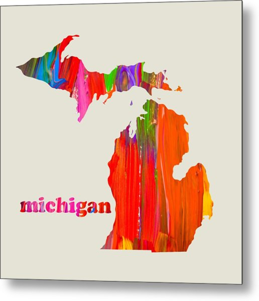 Vibrant Colorful Michigan State Map Painting Metal Print