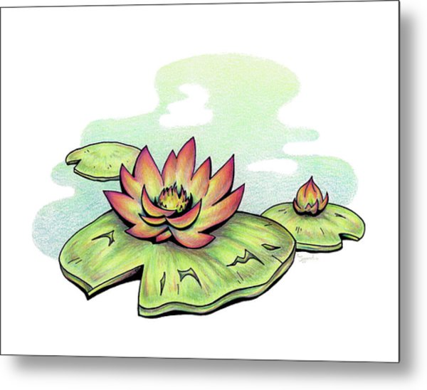 Vibrant Flower 2 Water Lily Metal Print