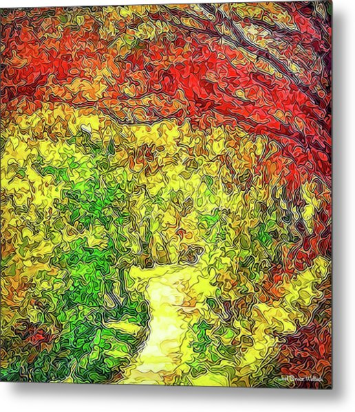Vibrant Garden Pathway - Santa Monica Mountains Trail Metal Print