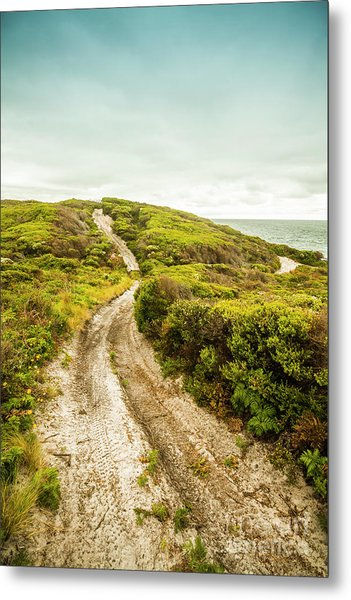 Vibrant Green Hills And Ocean Tracks Metal Print