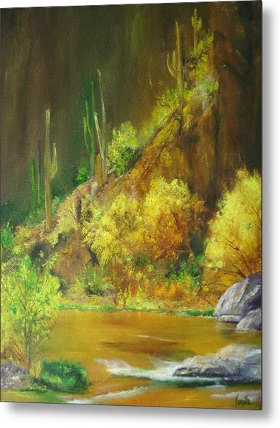 Vibrant Landscape Paintings  - Arizona Canyon Scene - Virgilla Art Metal Print by Virgilla Lammons