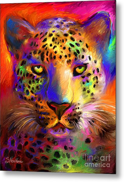 Vibrant Leopard Painting Metal Print
