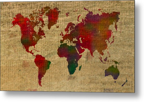 Vibrant Map Of The World In Watercolor On Old Sheet Music And Newsprint Metal Print