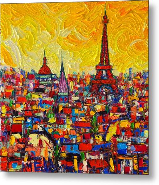 Vibrant Paris Abstract Cityscape Impasto Modern Impressionist Palette Knife Oil Ana Maria Edulescu Metal Print