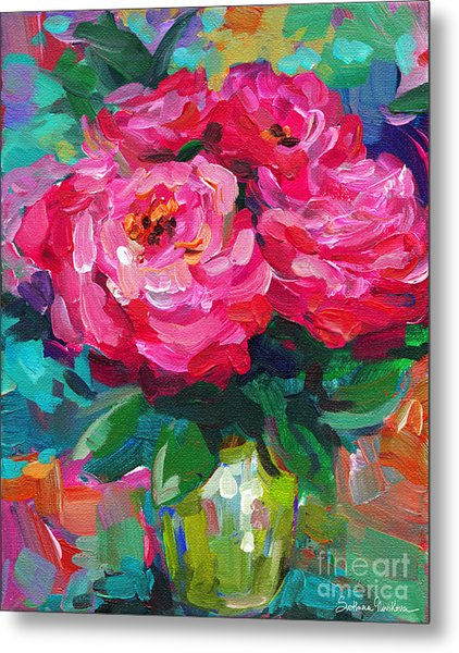 Vibrant Peony Flowers In A Vase Still Life Painting Metal Print