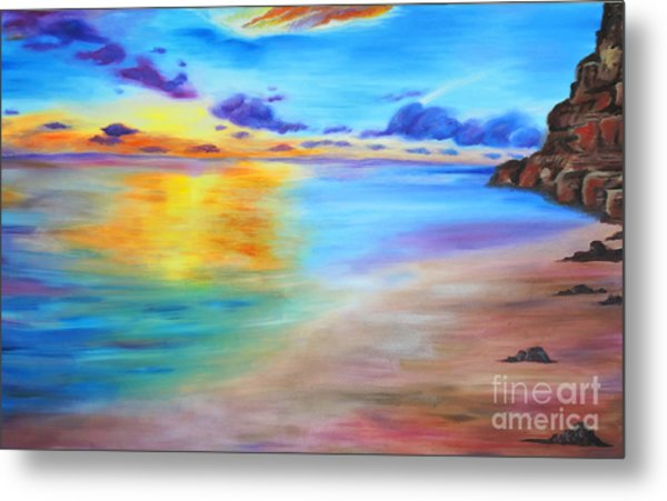 Rocky Sunset Shore Metal Print