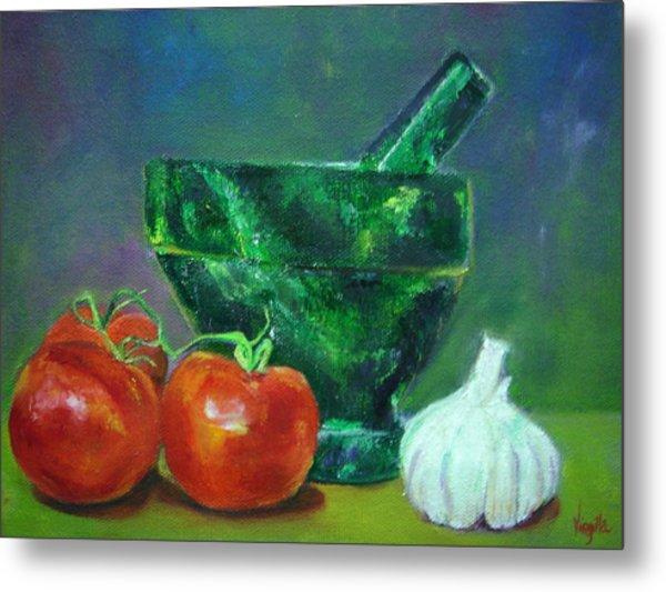 Vibrant Still Life Paintings - Morter Pestle Tomatoes And Garlic Metal Print by Virgilla Lammons