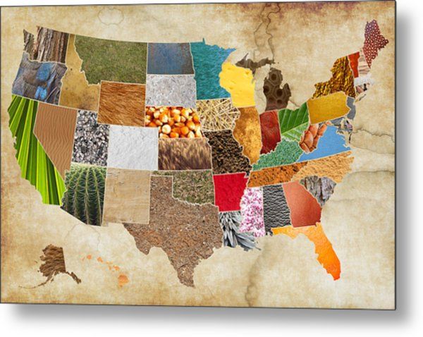 Vibrant Textures Of The United States On Worn Parchment Metal Print