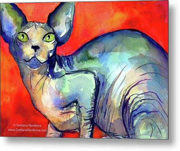 Vibrant Watercolor Sphynx Painting By Metal Print