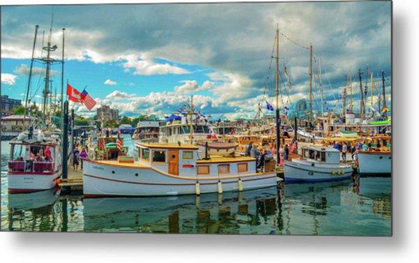 Victoria Harbor Old Boats Metal Print