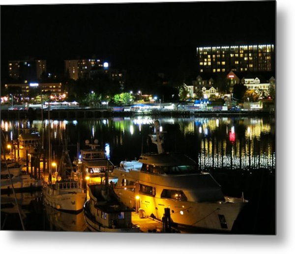 Victoria Inner Harbor At Night Metal Print