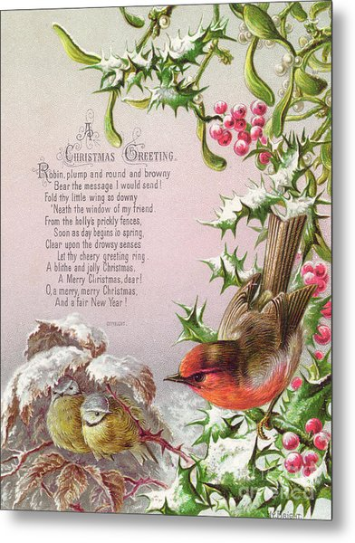 Victorian Christmas And New Year Card Of A Robin And Two Birds In A Snowy Scene Metal Print
