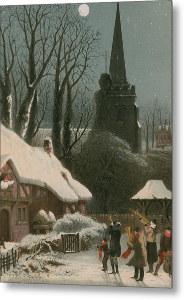 Victorian Christmas Scene With Band Playing In The Snow Metal Print