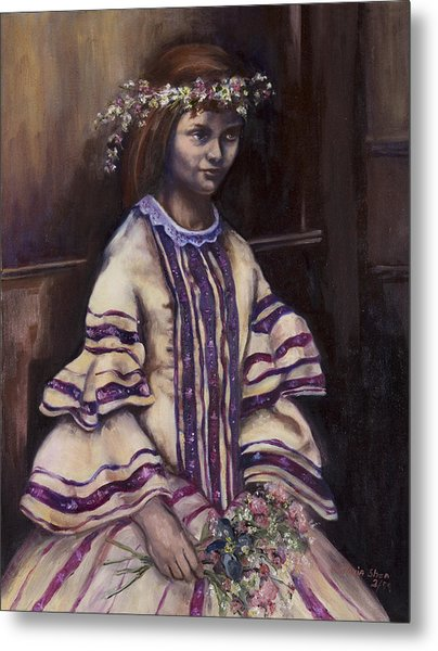 Victorian Girl Metal Print by Victoria  Shea