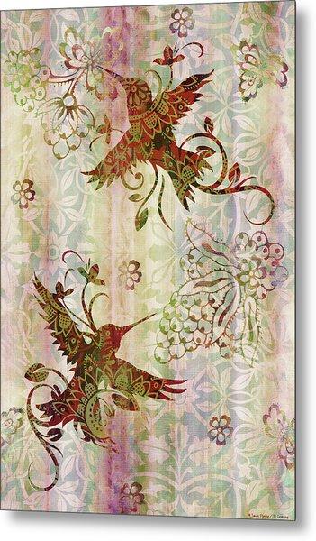 Victorian Humming Bird Pink Metal Print