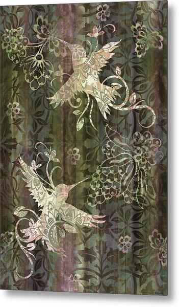 Victorian Hummingbird Green Metal Print