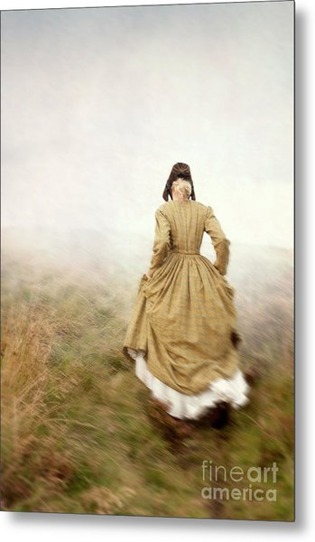 Victorian Woman Running On The Misty Moors Metal Print