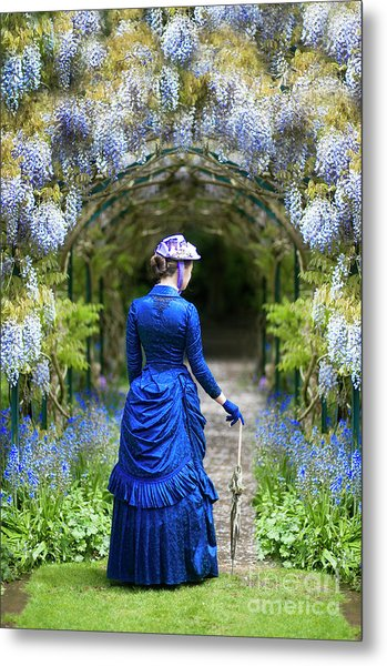 Victorian Woman With Wisteria Metal Print