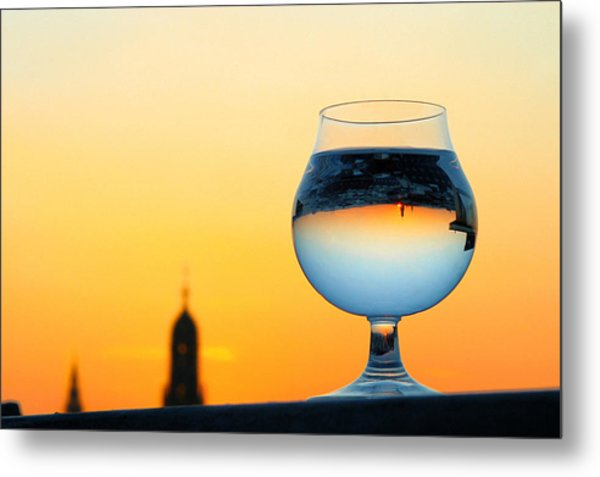Vienna - Sunset In A Glass Metal Print
