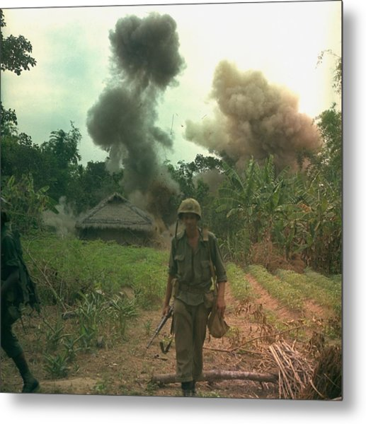 Vietnam War. Us Marines Walk Away Metal Print by Everett