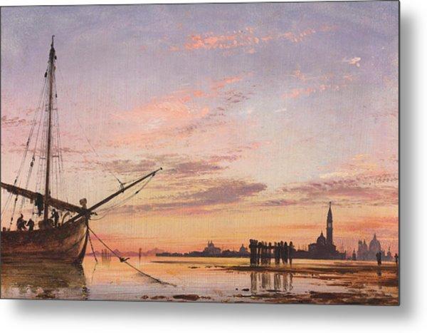 View Across The Lagoon, Venice, Sunset Metal Print