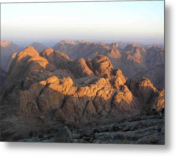 view from Sinai Mountain Egypt Metal Print by Evguenia Men