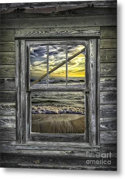 View From Weathered Beach Cottage Metal Print