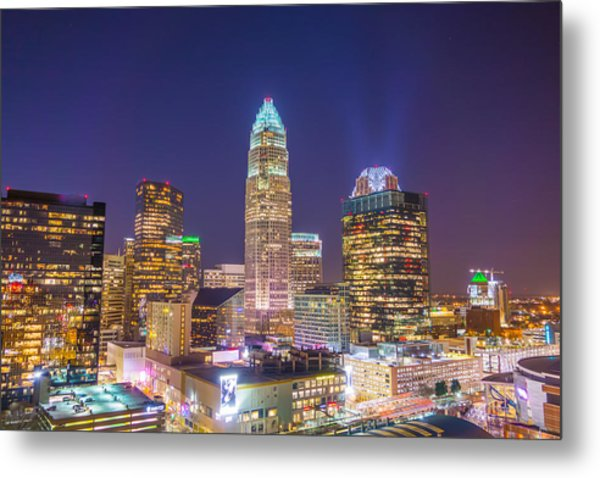 Metal Print featuring the photograph View Of Charlotte Skyline Aerial At Sunset by Alex Grichenko