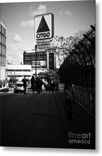 Metal Print featuring the photograph View Of Citgo Sign From David Ortiz Bridge, Boston, Massachusetts by Lita Kelley