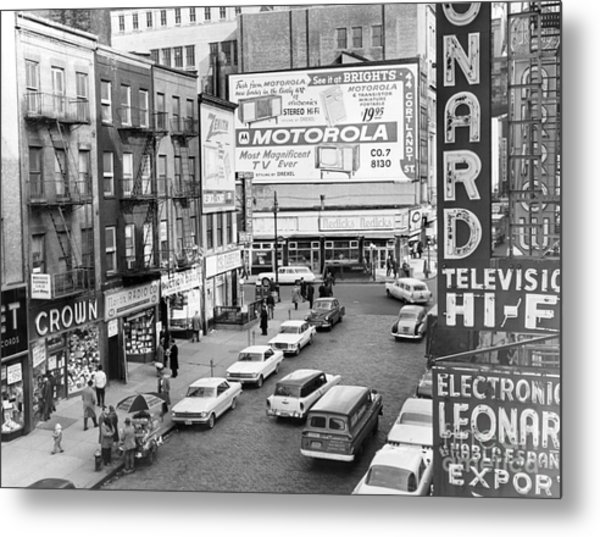 View Of Doomed Stores Of Radio Row In Manhattan New York. 1962. Metal Print by Anthony Calvacca